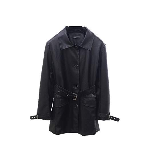 MIDNEFS Chaqueta de Cuero PU Abrigos Negros de Moda para Mujer con Bolsillos para cinturón Chaqueta Cortavientos para Motocicleta