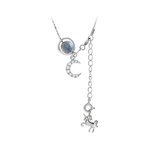 IJEWALRY Collar Colgante Plata para Mujer,Collar De Piedra Natural con Colgante De Caballo Mecedora...