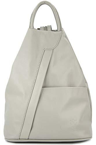 """Belli \""""City Backpack leichte italienische Leder Damentasche Rucksack Handtasche in hellgrau - 29x32x11 cm (B x H x T)"""