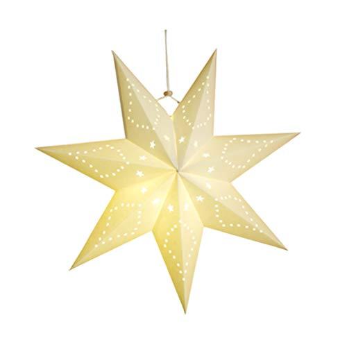 VICASKY Papel Estrella Lámpara Sombra Ahueca hacia Fuera Estrella Techo Sombra 7 Puntas Estrella Linterna Sombra Decorativa Pentagrama Lámpara Accesorio Sombra para El Hogar