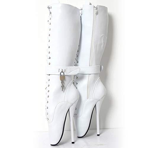Ankle Ballet Boots Sexy Knöchel Ballett Stiefel Super High Spike Ferse Ballettstiefel Benutzerdefinierte,White-EU-41