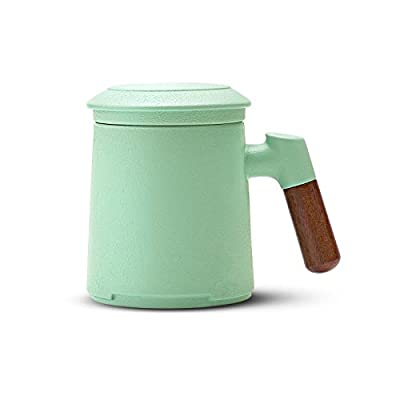 ZENS Tea Mug with Infuser,13.5 Ounce Stoneware Glazed Ceramic Tea Cup with Lid and Rosewood Handle for Steeping Loose Leaf Tea, Mint Green