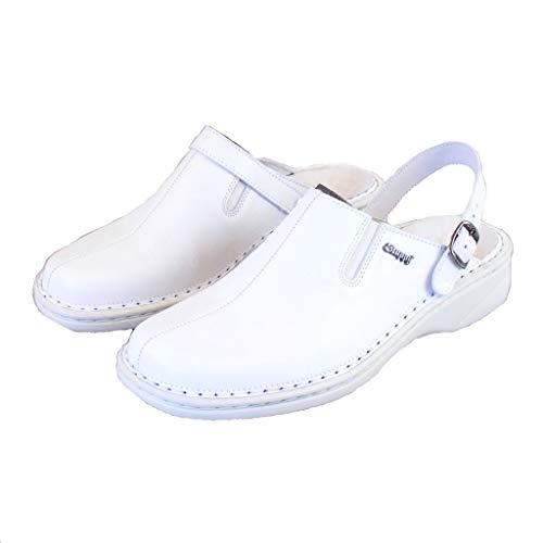 Stuppy Damen Schuhe Pantoletten Clogs Leder weiß 8793 Fersenriemen umlegbar, Größe:38