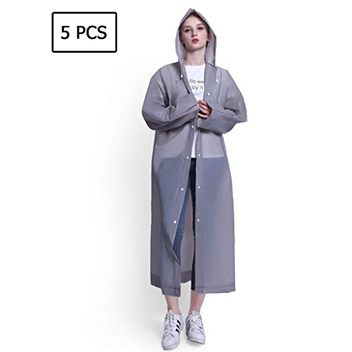 Great Price! Lgan 5PCS Rain Poncho for Adults, Clear Raincoats with Hood Disposable Rain Coats for W...