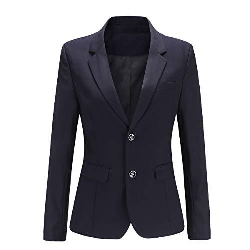 YYNUDA - Giacca da donna a maniche lunghe, elegante, slim fit, per autunno e inverno Blu scuro 40