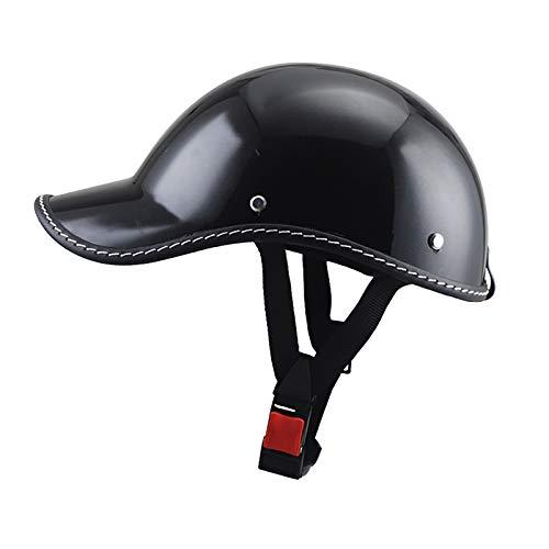 Cascos Half-Helmet,Casco de Motocicleta Retro Vintage Casco de Béisbol Harley Casco de Seguridad Ligero Casco de Vehículo Eléctrico Duckbill Cap Dot/ECE Aprobado Casco A