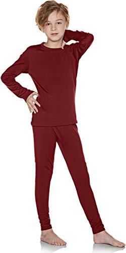 TSLA Kid's & Boy's and Girl's Thermal Underwear Set, Soft Fleece Lined Long Johns, Winter Base Layer Top & Bottom, Boy Thermal Set(khs300) - Brick, Large