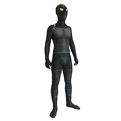FLJLGY PS4 Stealth Suit Niños Cosplay Disfraz Spider-Man Kid Adult Superhero Series Monos de una Pieza Trajes Halloween Masquerade Body Zentai Sets,Black-Adult 1X 170~175 cm