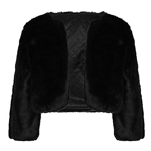 IEFIEL Chaqueta de Fiesta Boda para Niña Bolero Manga Larga con Pompónes de Dama Honor Cárdigan de Piel Sintética Abrigo Invierno Otoño Negro B 11-12 años