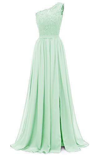 yinyyinhs Damen EIN Schulter langes Abendkleid Spitze Chiffon Brautjungfernkleid Side Split Abendkleider mit Taschen Größe 54 Minzgrün