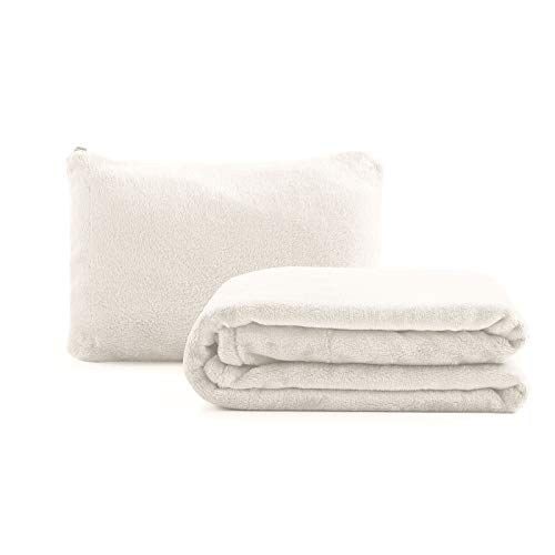 Soft Travel Blanket Pillow 50x60inch Flannel Throw Blankets for Couch Bed and Living Room, 2 in 1 Airplane Blanket Packed in Soft Bag Pillowcase, Suitable for All Season (White)