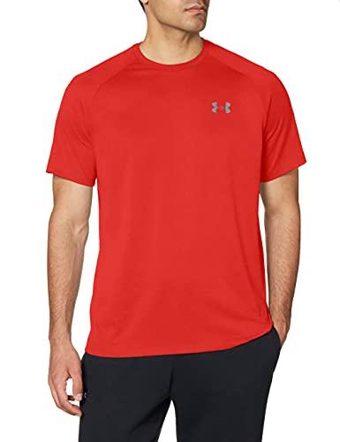 Under Armour Tech 2.0. Camiseta masculina, camiseta transpirable, ancha camiseta para gimnasio de manga corta y secado rápido, Red/Graphite (600), MD