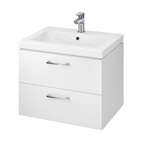 VBChome Waschtischunterschrank 60 cm Waschbecken mit Unterschrank 2 Schubladen Weiß Badmöbel weiß Hochglanz Badezimmermöbel hängend