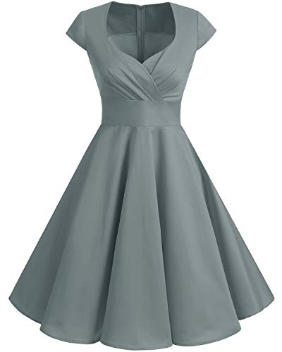 Bbonlinedress 1950er Vintage Retro Cocktailkleid Rockabilly Elegant Kleid V-Ausschnitt Faltenrock Grey XL