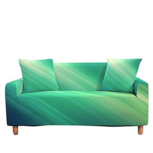 Surwin Funda Elástica para Sofá de 1/2/3/4 Plazas, 3D Raya Impresión Universal Cubierta de Sofá Cubre Sofá Antideslizante Lavable Sofa Couch Cover Protector (3 plazas - 190-230cm,Verde)