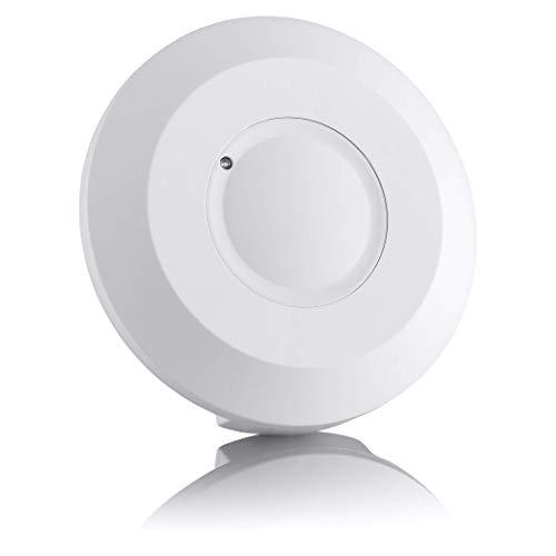 SEBSON Detector de Movimiento para Interiores, Montaje Superficie en Techo, LED Adecuado, programable, RF Sensor, Alcance 2-16m / 360°, Luces 300W / 800W