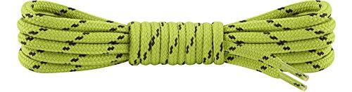 Ladeheid Qualitäts-Schnürsenkel LAKO1003, Elastische Rundsenkel für Arbeitsschuhe und Trekkingschuhe aus 100% Polyester, ø ca. 5 mm Breit, 25 Farben, 60-220 cm Länge (Gras/Dunkelgrau, 110 cm/ø 5 mm)