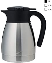 GiNT Stainless Steel Thermal Coffee Carafe with Lid/Double Walled Vacuum Thermos / 12 Hour Heat Retention,1.0L, Silver