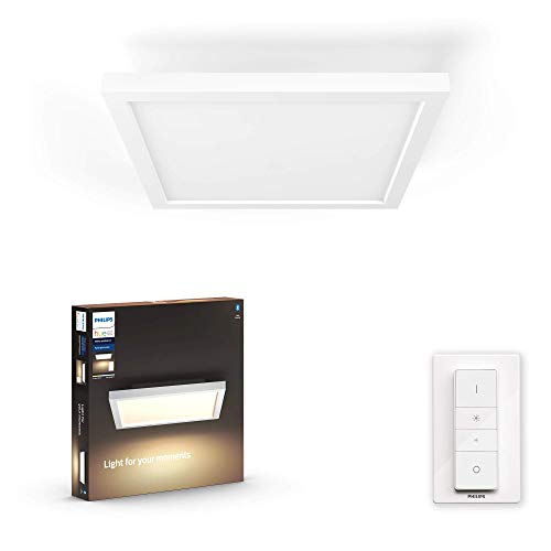 Philips Hue White Ambiance Aurelle Plafoniera Smart LED Smart, con Bluetooth, 24.5 W, Quadrata, Bianca, con Telecomando Dimmer Switch Integrato