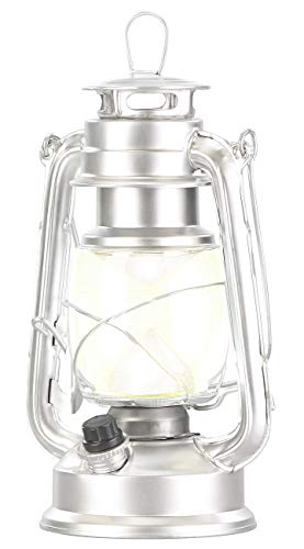 Lunartec LED Gartenlaterne: Dimmbare LED-Sturmlampe, Batterie, 200 lm, 3W, tageslichtweiß, silbern (Sturmlaterne LED)
