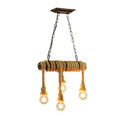 Lámpara colgante de cuerda de cáñamo Lámpara colgante de cuerda vintage Luces de cuerda de luz de cuerda retro Lámpara colgante industrial E27 de altura ajustable Lámpara colgante redonda Lámpara