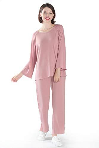 Pyjama Damen Nachthemd Schlafanzug Loose Pyjama Set Bambusfaser Pyjama Set Frauen Hohe Elastizität Nachtwäsche Nachtwäsche Freizeitkleidung Pyjama 3XL Pinkset
