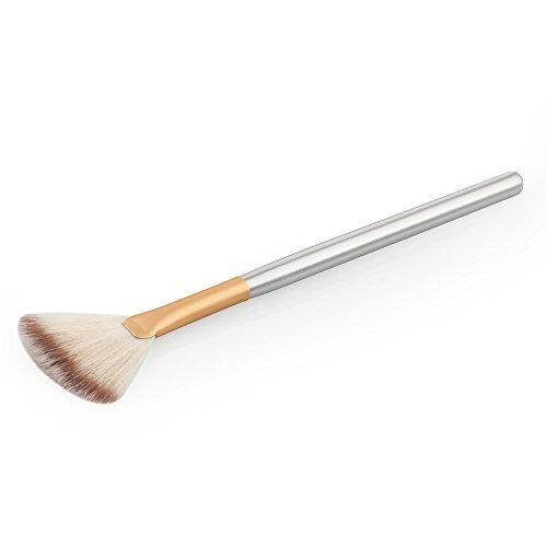 Magideal einzigen ultradünne Bürste Makeup-in Fan Form von Holz Wolle 18.5x 0.8x 0.8cm Stiftung Puder Lippenstift Professionell Heim gold