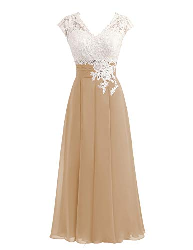 Women's Ivory Lace Top Chiffon Button V-Neck Bridesmaid Dresses with Cap Sleeves Mother of The Bride Dresses (US14, Champagne)