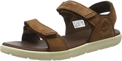 Timberland Unisex-Kinder Nubble Leather 2-Strap Sandalen, Braun (Cappuccino Aia), 26 EU