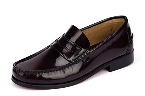 Mocasines Hombre de Piel Burdeos Zapatos Vestir Hecho en España Tallas 44 EU
