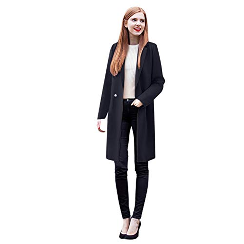 Women Woolen Coats Blazer SFE Winter Notched Lapel Two Button Warm Pea Coat with Pockets Plus Size Navy