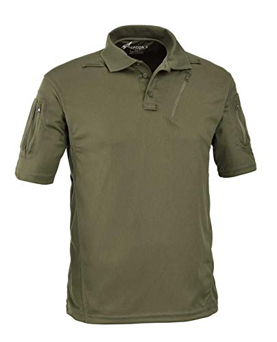 Defcon 5 Advanced Tactical Polo Short Sleeves with Pockets Made of Polyester Mesh (S, OD Green)