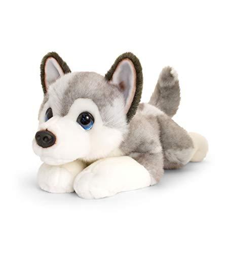 Keel Toys SD2458 Kuschelwelpen, hochwertig, 25 cm, Grau, Weiß