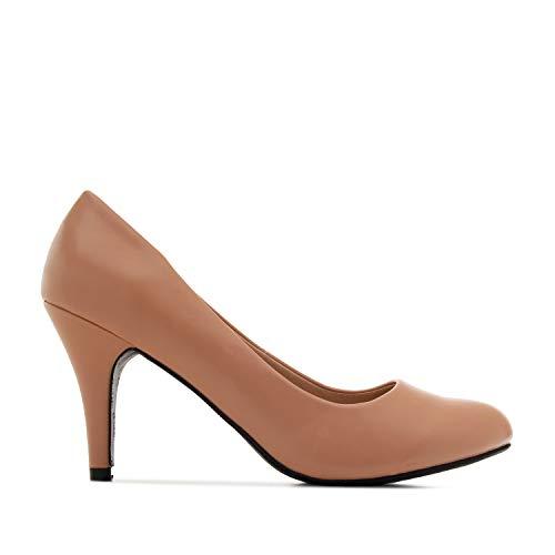 Andrés Machado - Elegante pumps voor dames en meisjes met 9,5 cm hak en ronde neus - AM422 - hoge hakken - Naakt, vanaf maat (EU) 43