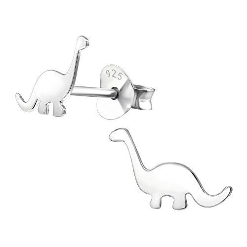 Pendientes de dinosaurio Diplodocus, de plata fina