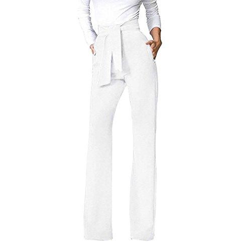 Pantalones Mujer Elegante Fiesta Moda Pantalones Anchos Largos Unicolor Anchos Fashion Pantalones De Tiempo Libre Pantalones De Traje Bastante con Cordón (Color : Blanco, Size : M)