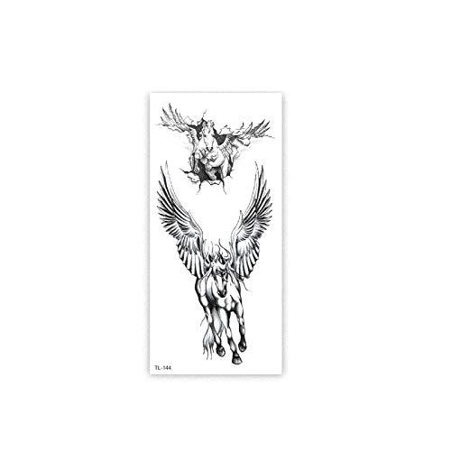 6 Stück 19X9CM Temporär Tätowierung Schwarz Tattoo Körperkunst,Extra Temporär Tätowierung,Klebe Tattoo Sticker,Fake Arm Tattoos Aufkleber Für Männer Frauen Diamantanhänger Tierpferd Tattooaufkleber A