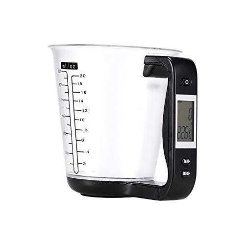 Gpure Báscula de Digital Jarra Medidoras Termometro de Cocina (0-40°C) 3 en 1 Plastico 600ml Vaso Medidor Pantalla LCD con Pilas CR2023,Balanza Cocina Precision con Función de Tara