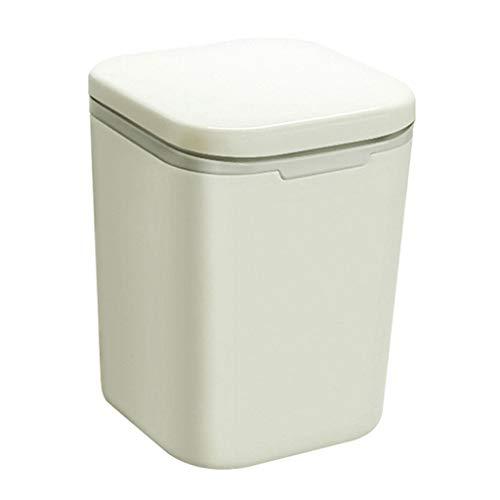 SHYPwM Cubeta De Basura De Escritorio Tipo Cubo De Basura Papelera De Reciclaje Creative Mini Interior Con Tapa Cubo De Almacenamiento De Mesa De Cocina - Cuadrado/Redondo 3L (Color : Square)