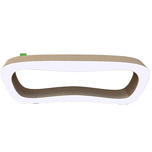 Wouapy - Griffoir Déco Malfinio pour Chat - Griffoir Entièrement en Carton - Design Moderne & Epuré - Larges Surfaces en Carton à Griffer - Pensé pour Le Confort des Chats - Blanc