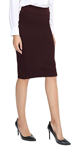 Urban CoCo Women's Elastic Waist Stretch Bodycon Midi Pencil Skirt (S,Burgundy)