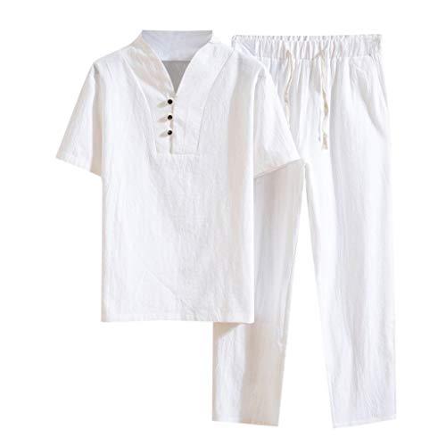Fitfulvan Men's Baggy Casual Cotton Linen Two-Piece Set Color Block Zipper Hooded Sweatshirt Pants Set Tracksuit White
