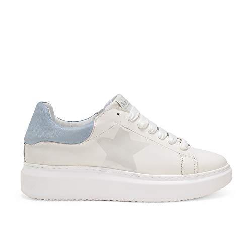 Angel Stella Denim - Sneakers in Pelle - con Effetto Sbiancato e Dipinto a Mano Glossy - 40 - Denim