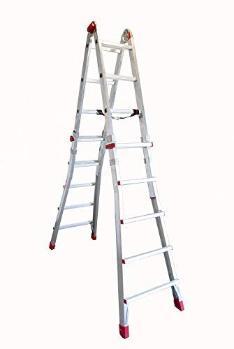 Faraone - Escalera de Aluminio - Escalera Telescópica TELES.T5 - 158 x 60 x 21 cm - 10+10 Peldaños - Escalera de Aluminio Multiusos - Altura Regulable - Muy Resistente y Estable