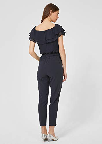 s.Oliver BLACK LABEL Damen Jumpsuit mit Chiffon-Volants luxedo Blue 40 - 6