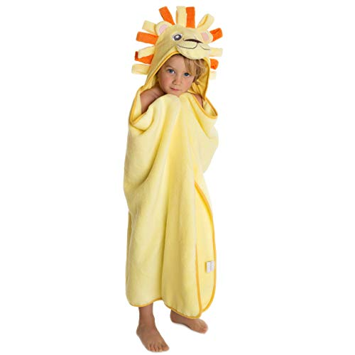 Premium Hooded Towel for Kids | Lion Design | Ultra Soft and Extra Large | 100% Cotton Bath Towel with Hood for Girls or Boys by Little Tinkers World