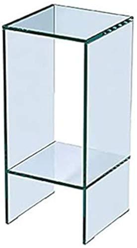 Tavolino in Vetro Temperato con Ripiano Portaoggetti Salotto Soggiorno Sala da Pranzo Design Minimal Moderno Elegante Arredo Arredamento Luxury Formosa Trasparente (25 x 25 x 56 cm M)