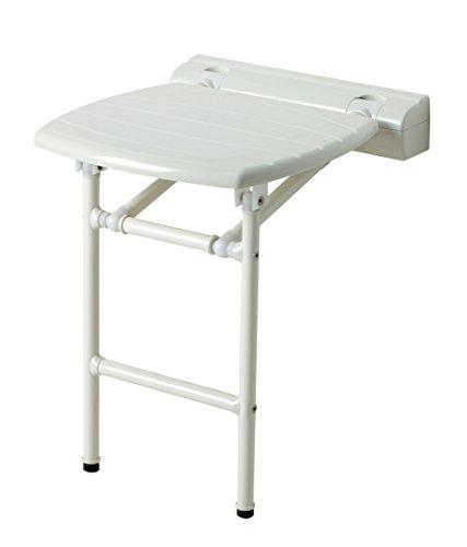 Kantelbare douchestoel met stalen poten en witte ABS-kunststof 400 x 420 mm.