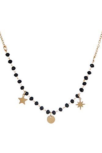 Córdoba Jewels | Gargantilla en Acero bañado en oro con diseño Estrella Chapas Onix Gold