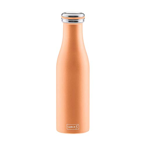 Lurch 240941 Isolierflasche / Thermoflasche für heiߟe und kalte Getränke aus doppelwandigem Edelstahl 0,5l, pearl orange